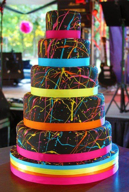 Neon Paint Splatter Cake The Party Connection Your liaison to