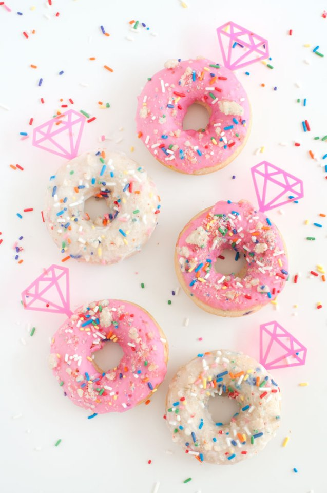 Birthday+Cake+Doughnuts+with+Gem+Toppers+_+Sprinkles+for+Breakfast